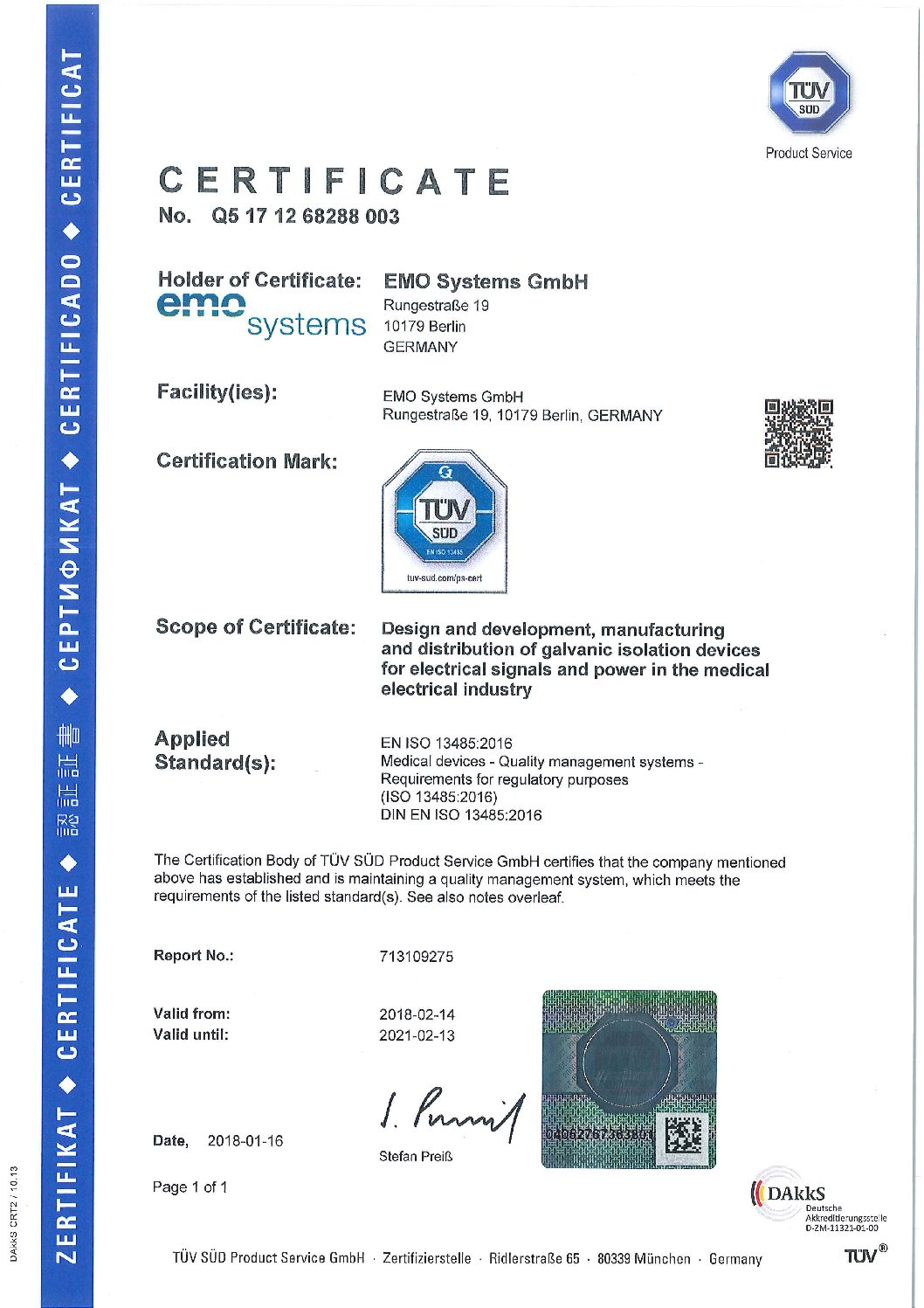 Certifications Emo Systems