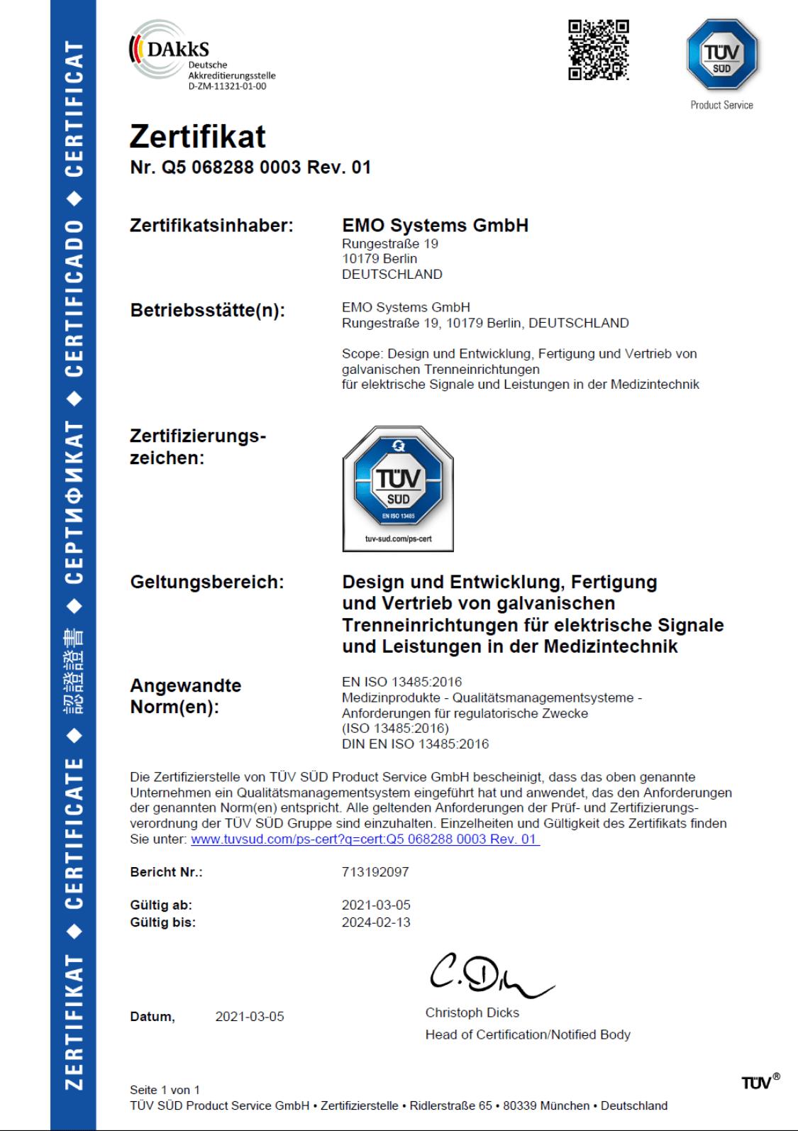 TÜV Zertifikat DIN EN ISO 13485