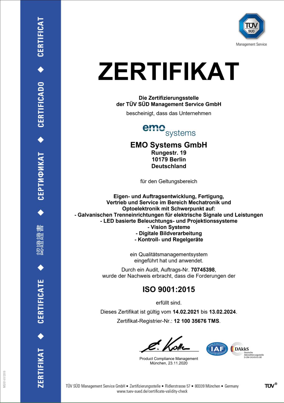 TÜV Zertifikat DIN EN ISO 9001